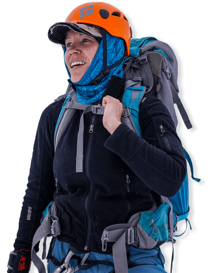 Person with full hiking equipment